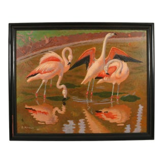 """Hermes Signed Oil on Canvas """"Pink Flamingos"""" For Sale"""