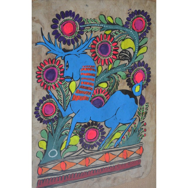 Otomi Mexican Folk Art Amate Painting For Sale - Image 5 of 8