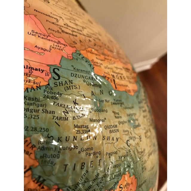 Late 20th Century Vintage Replogle Brass and Wood World Globe on Stand For Sale - Image 5 of 9