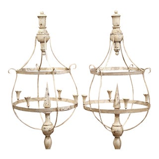 French Wood & Iron Painted Girandoles Candleholders - A Pair For Sale