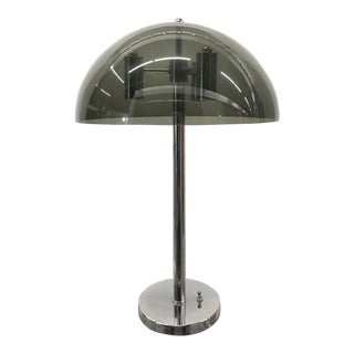 Mid-Century Modern Chrome and Lucite Table Lamp For Sale