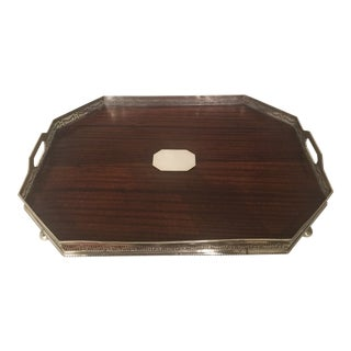 Large Antique Neoclassical Silver and Mahogany Gallery Tray For Sale