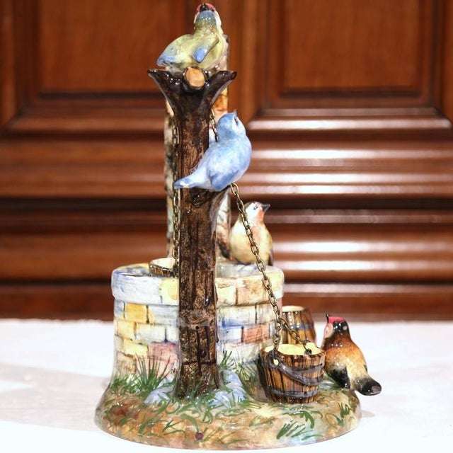19th Century Hand-Painted Barbotine Majolica Well Sculpture With Birds Signed J. Massier - Image 6 of 10