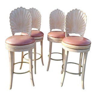 1980s Mid-Century Modern Grotto Style Shellback Barstools - Set of 4 For Sale