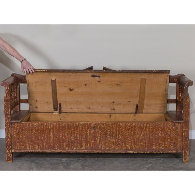 Iron Hungarian Romanian Antique Painted Pine Bench circa 1875 For Sale - Image 7 of 11