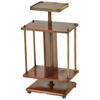 Mahogany Revolving Side Table With Brass Trim For Sale