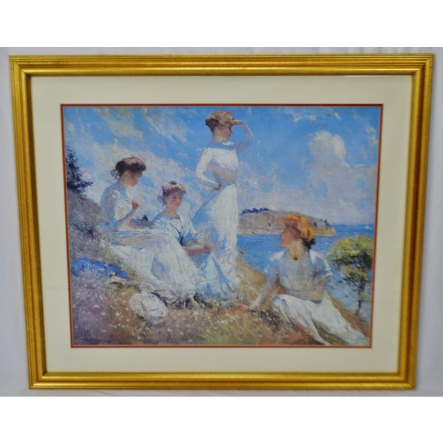 Vintage Framed Frank Weston Benson Summer Seascape Print Condition consistent with age and history. Please use zoom...
