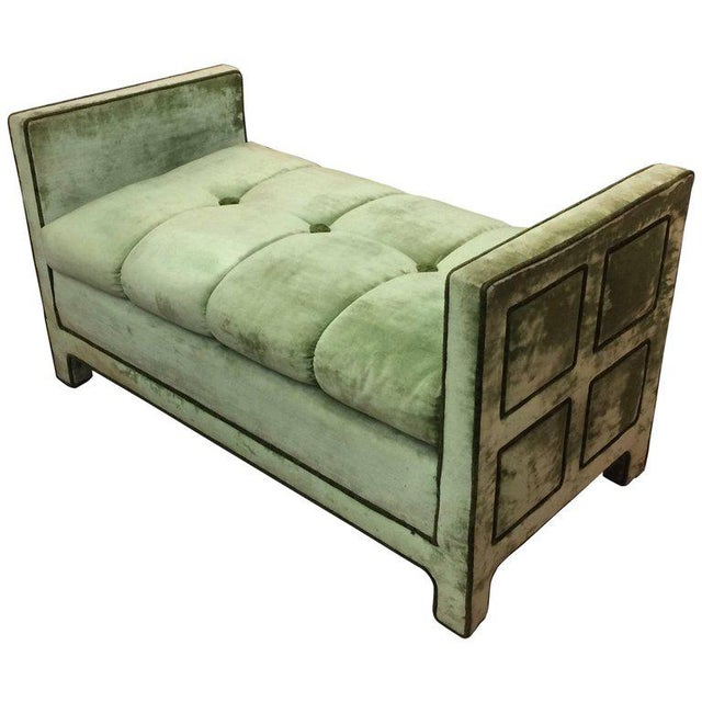 Light Green Velvet Settee Bench - Image 10 of 10
