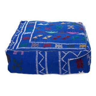Moroccan Cornflower Blue Wool Pouf For Sale