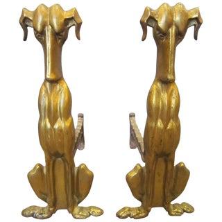 Tall Modernist Gilt Bronze Dog Andirons - a Pair For Sale