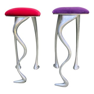 Red & Purple Modern Bar Stools - A Pair For Sale