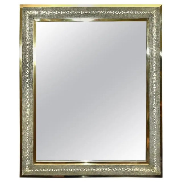Celadon Shagreen Wall Mirror For Sale - Image 10 of 10