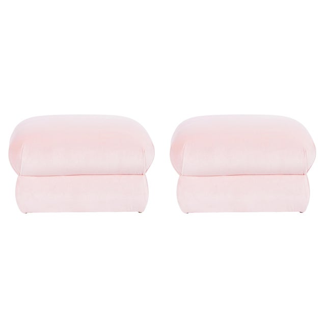 Textile Casa Cosima Milan Ottoman in Blush Velvet, a Pair For Sale - Image 7 of 7