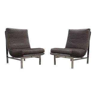 1960's Aluminum Frame Slipper Chairs - A Pair