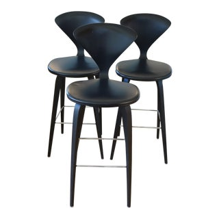 Cherner Wood Leg Stools With Upholstered Seats - Set of 3 For Sale