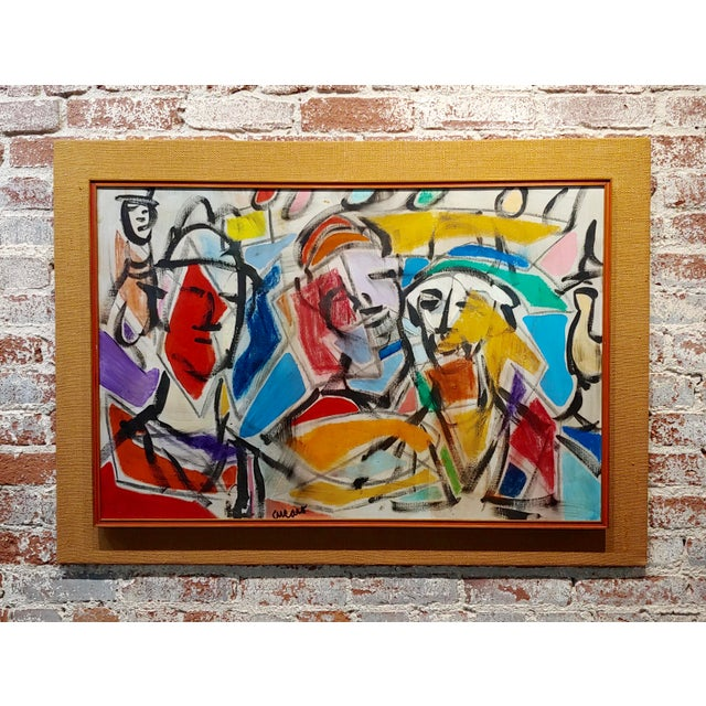 1960s Pascal Cucaro Abstract Faces in a Landscape Oil Painting For Sale - Image 9 of 9