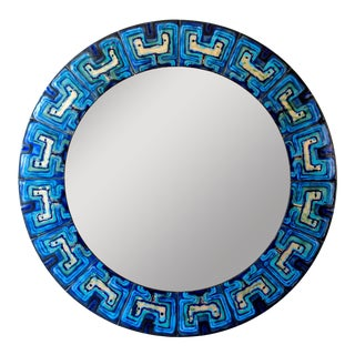 Bodil Eje, Unique Turquoise and Persian Blue Mid-Century Circular Enamel Mirror For Sale