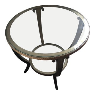American Classical Marge Carson Glass Center Table With Gold Trim For Sale
