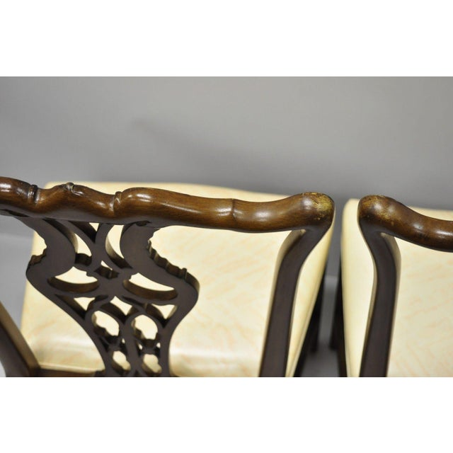 Antique Mahogany Pagoda Carved Chinese Chippendale Style Dining Chairs - Set of 4 For Sale - Image 9 of 12