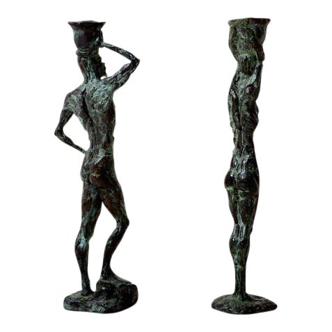 Pair of Mid-Century Modern Bronze Sculpture Holders For Sale