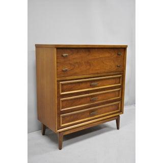 Vintage Mid-Century Modern Walnut 5 Drawer Tall Dresser Highboy Preview