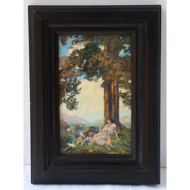 "Maxfield Parrish ""Hilltop"" Original Art Print Circa 1927. In original frame. This is a painting that has two young ladies..."