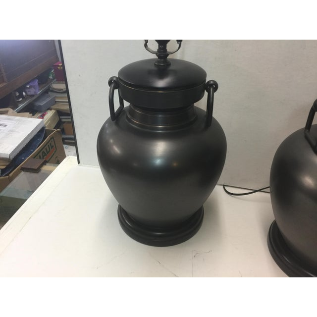 Contemporary Pair of Pottery Barn Urn Form Bronze Finish Lamps For Sale - Image 3 of 7