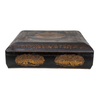 Vintage Dark Wooden Lacquer Box With Gold Color Detail For Sale