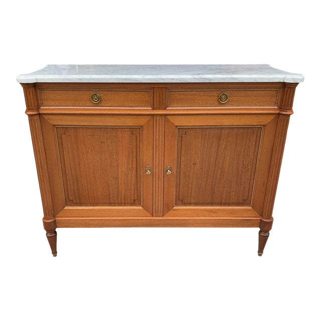1910s French Louis XVI Antique Mahogany Sideboard For Sale