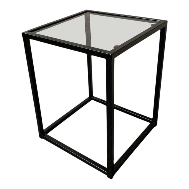 New Modern Square Black Table With Fumee Glass Top, Indoor or Outdoor For Sale
