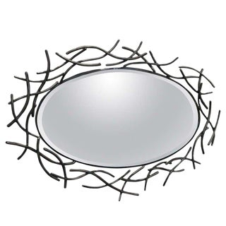 Decorative French Forged Metal Oval Mirror For Sale