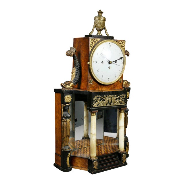 Biedermeier Fruitwood and Ebonized Mantle Clock For Sale