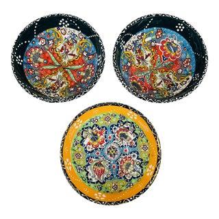 """Turkish Handmade Floral Ceramic 6"""" Bowls- Set of 3 For Sale"""