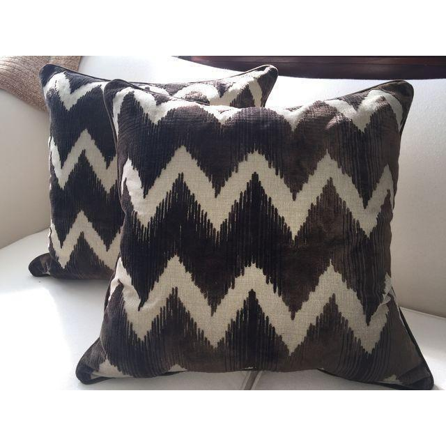 Chocolate brown Lee Jofa Watersedge Belgian velvet pillows with a solid natural back. Zipper enclosure with removable...