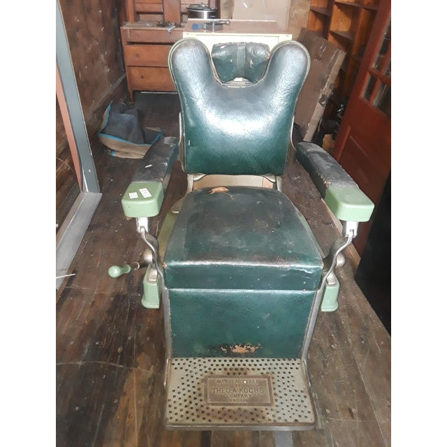 Vintage Theo-A-Kock Green Leather Barber Chair For Sale - Image 4 of 7