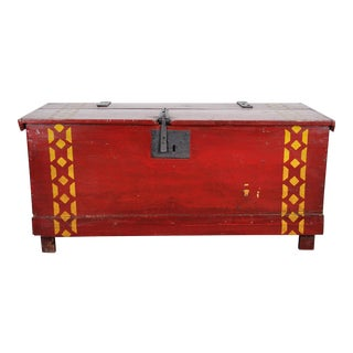 1960s Vintage Dutch Hand Painted Dowry Trunk Chest For Sale