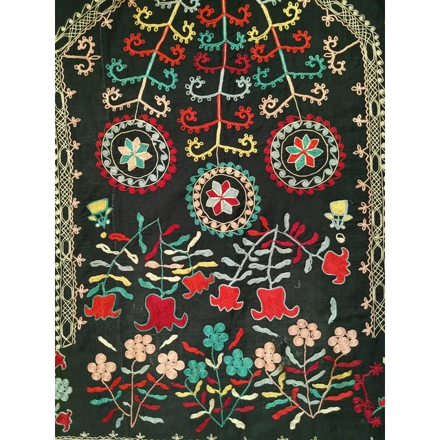 "1900 - 1909 Late 1800s Hand-Stitched Suzani- 3' X 5' 3"" For Sale - Image 5 of 13"