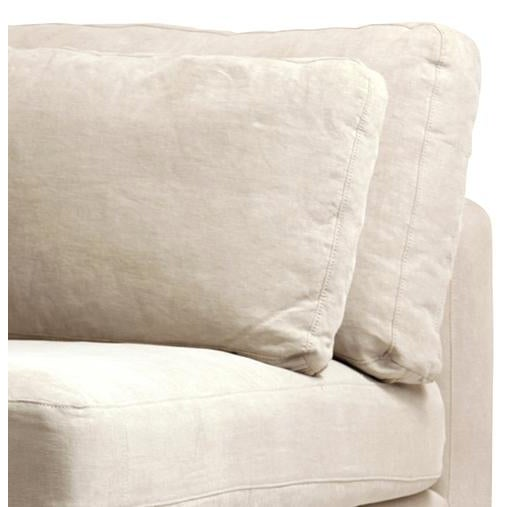 """Beautiful raw linen modern design corner section piece to sectional. Birchwood frame with seat height of 18""""."""