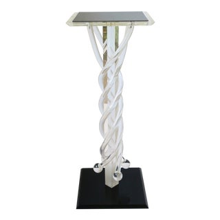Postmodern Acrylic Column Pedestal Stand in Black and Clear For Sale