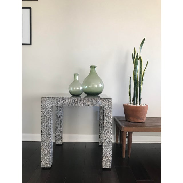Contemporary Made Goods Vertagus Shell Inlay Parsons Side Table For Sale - Image 10 of 13