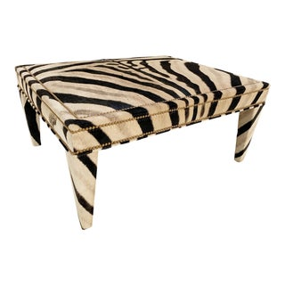 Forsyth Zebra Hide Parsons Style Ottoman For Sale