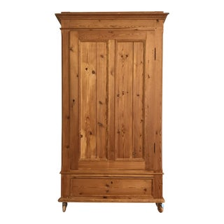19th C. Danish Scrubbed Pine Armoire