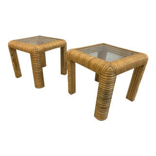 Mid Century Rattan Split Reed End Tables, a Pair For Sale