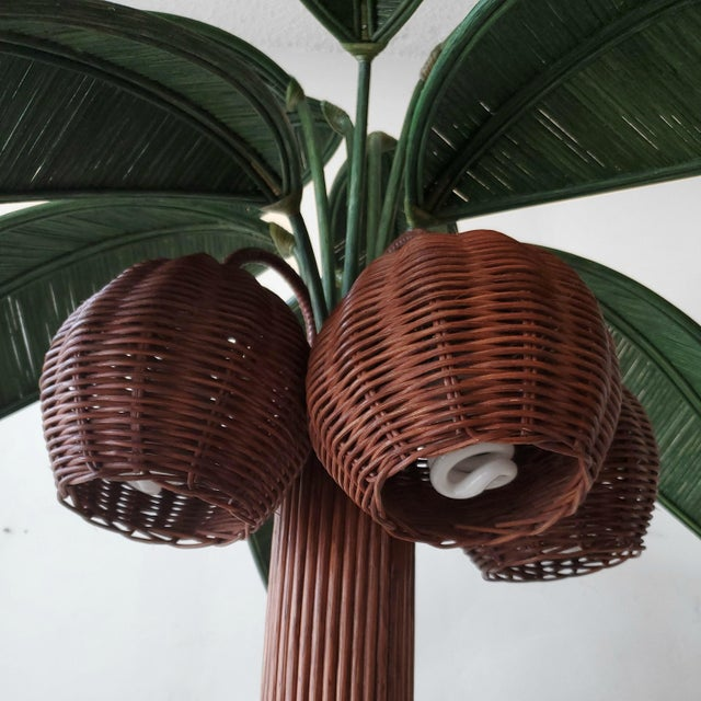 Mario Lopez Torres Vintage Wicker Rattan Palm Tree Floor Lamp For Sale - Image 4 of 7