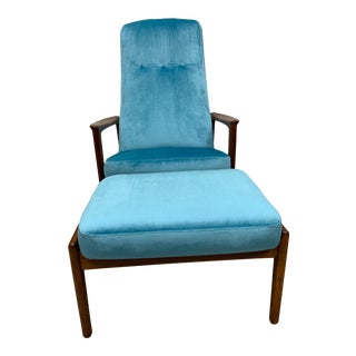 Danish Folks Ohlsson for Dux Lounge Chair and Ottoman Newly Upholstered - 2 Piece Set For Sale