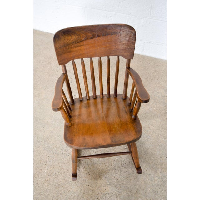 Brown Antique Turn-of-the-Century Handcrafted Spindle Back Child's Wooden Rocking Chair For Sale - Image 8 of 8