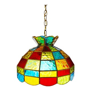 Mid Century Stained Glass Swag Pendant Light