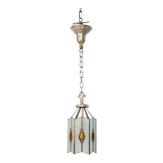 Mid 20th Century Glass Lantern With Amber Jewels For Sale