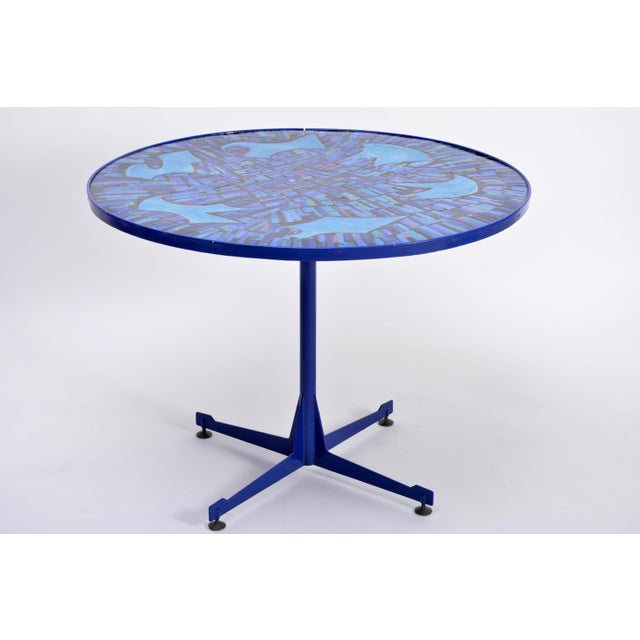 Tall Blue Italian Midcentury Dining Table With Enameled Copper Top, 1950s For Sale - Image 4 of 9