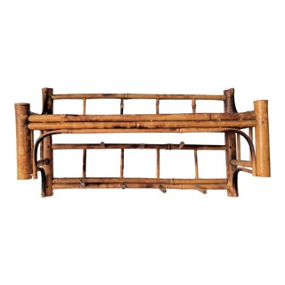 Vintage Hollywood Regency Bamboo Wall Shelf With Hooks For Sale